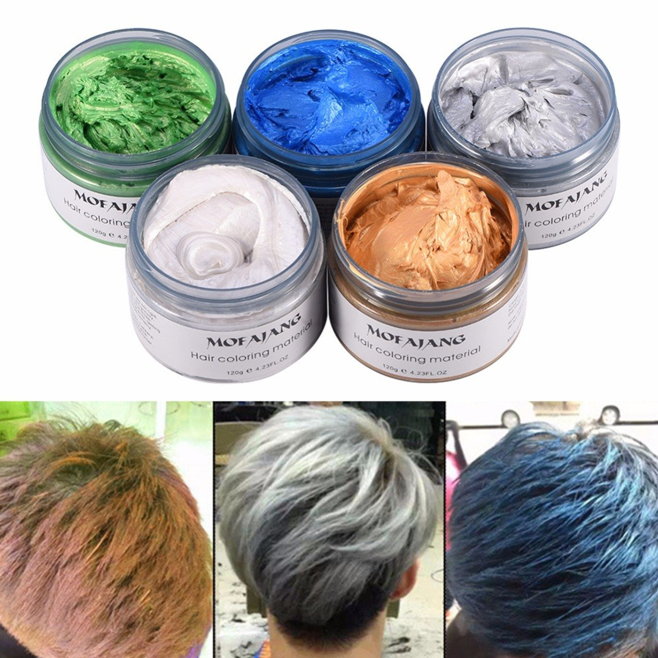 MOFAJANG 120g Hair Coloring Wax Silver Ash Grey Strong Hold ...