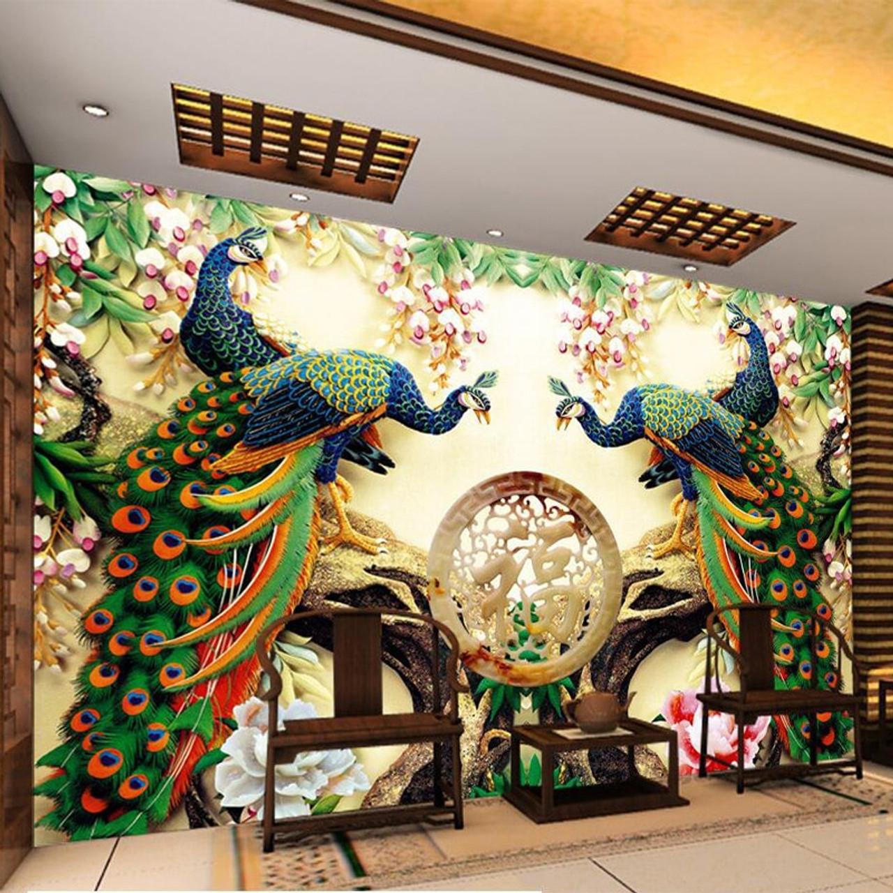 Photo Wallpaper European Style Peacock Flowers 3d Mural Living Room