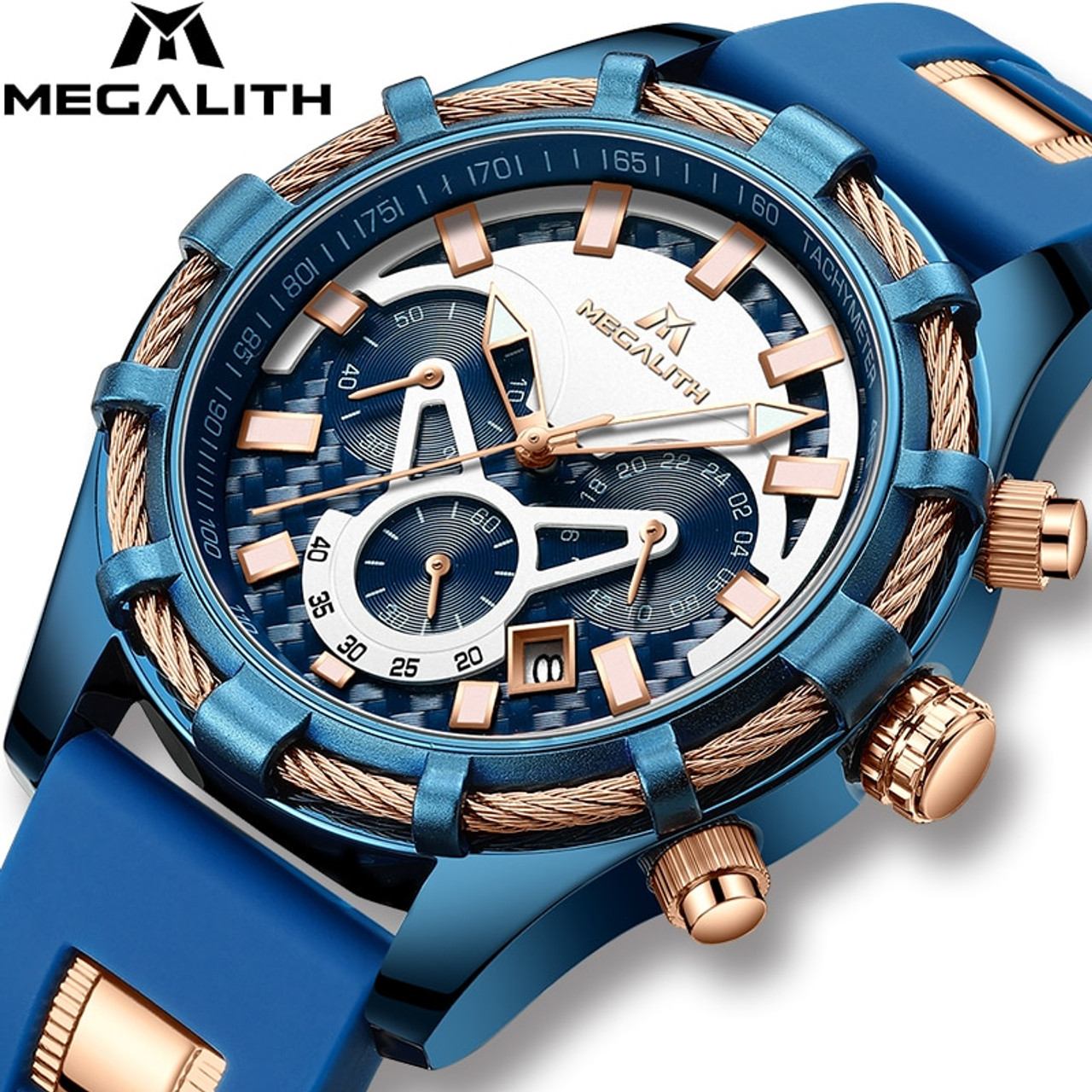 71f7eab60e2 MEGALITH Mens Watches Top Brand Luxury Waterproof Blue Silicone Strap  Sports Chronograph Quartz Wrist Watches Relogio Masculino - OnshopDeals.Com