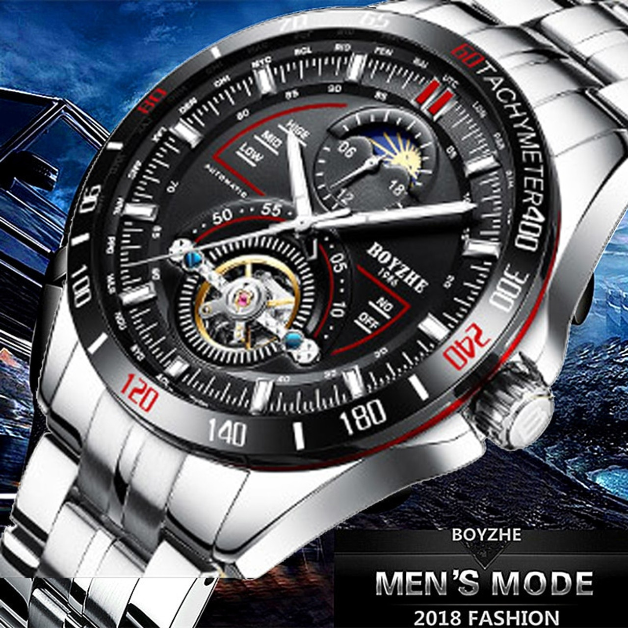 9a53c271d ... BOYZHE Mens Automatic Mechanical Fashion Top Brand Sports Watches  Tourbillon Moon Phase Stainless Steel Watch Relogio ...