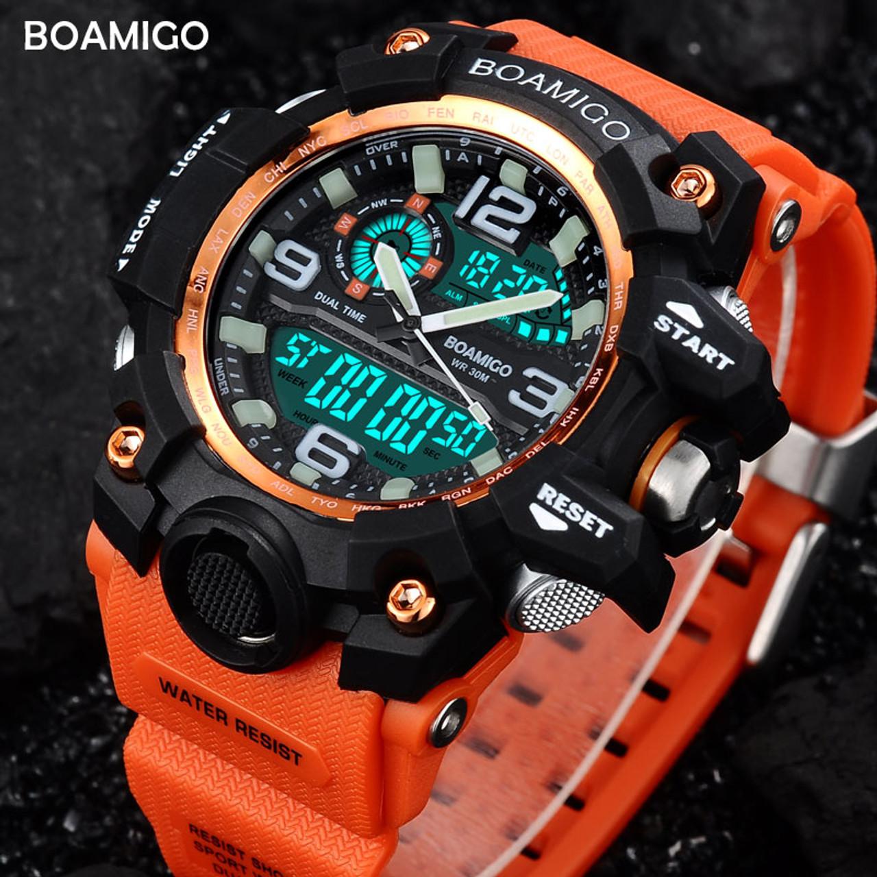 95ed3146d82 Men Sports Watches BOAMIGO Brand Digital LED Orange Shock Swim Quartz  Rubber Wristwatches Waterproof Clock Relogio Masculino - OnshopDeals.Com