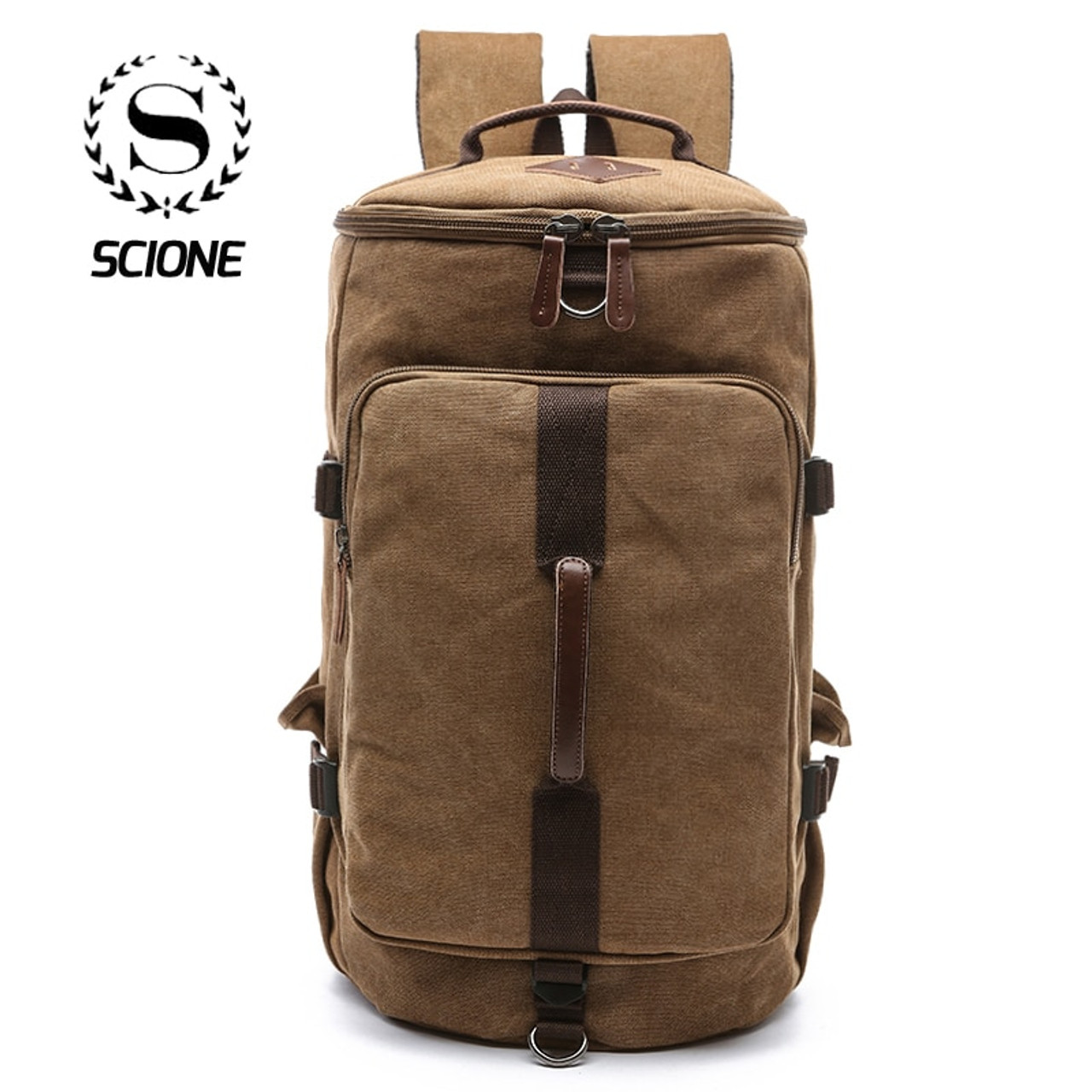 cb0c3f172c Scione Men Large Capacity Cylinder Backpacks Canvas Luggage Shoulder Bags  Duffle Travel Waterproof Scione Men Large ...