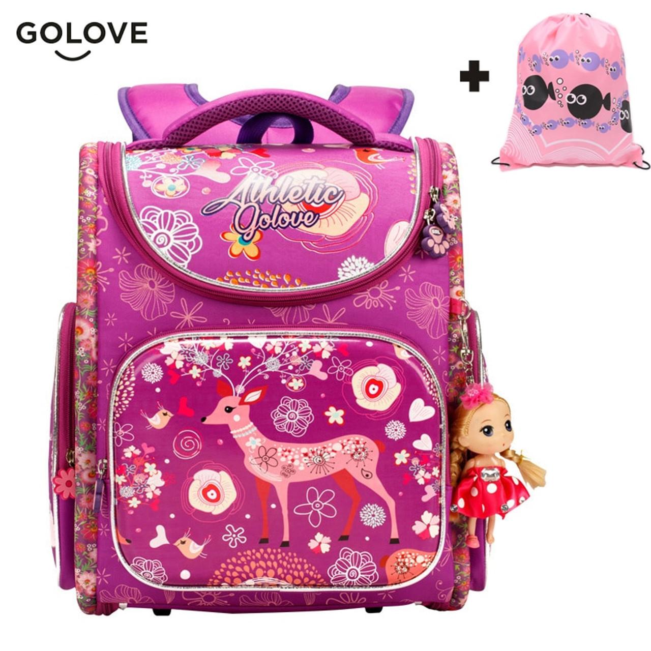 Kids Cartoon School bags safe Orthopedic children school Backpack For Girls