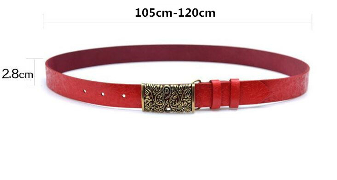 10f27af64 ... Genuine Cowskin Leather Belts For Women Carved Design Retro Metal Women  Strap Cintos Ceinture Female High ...