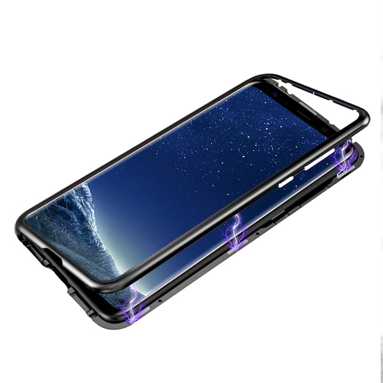 online store f80e2 513a2 Eqvvol Magnetic Adsorption Metal Case For Samsung Galaxy S9 S8 Plus S7 Edge  Tempered Glass Back Magnet Cover For Note 8 9 Cases