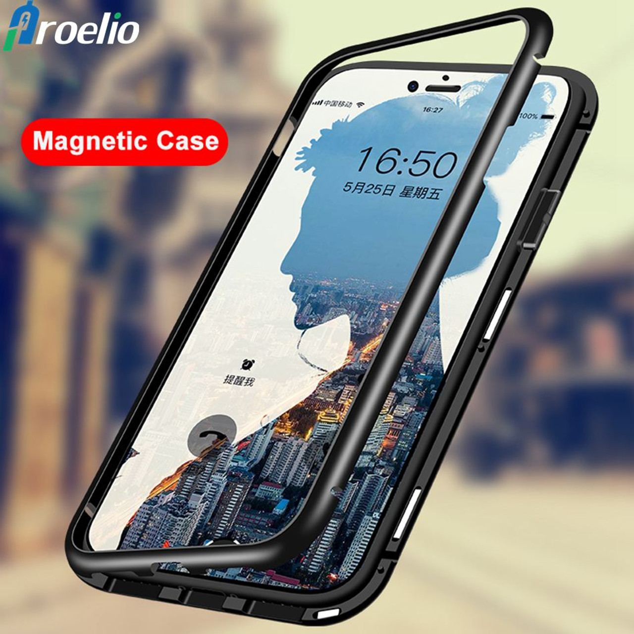 3a12a6ebe0 Proelio Magnetic Flip metal Case For Xiaomi Redmi Note 6 Pro 5 Clear  Tempered Glass Back ...