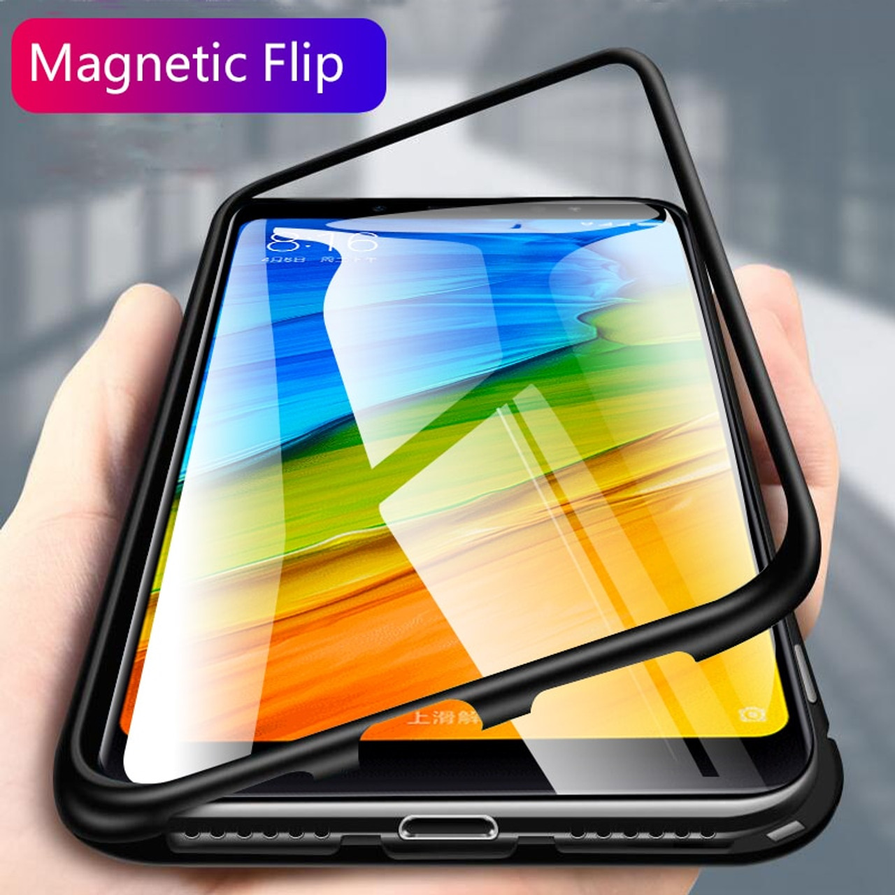 pretty nice 878ce b813c Proelio Magnetic Flip metal Case For Xiaomi Redmi Note 6 Pro 5 Clear  Tempered Glass Back Cover For Xiaomi Pocophone F1 Mi A2 8