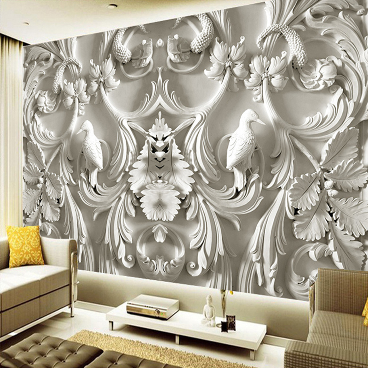 Modern Simple White Flowers Butterfly Photo Wallpaper 3d Wall Mural Living Room Tv Sofa Backdrop Wall Painting Classic Mural 3 D Wallpapers Home Improvement