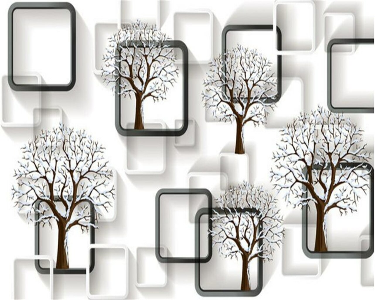 Beibehang Custom Wallpaper Black And White Grid 3d Tree Stereo Photo