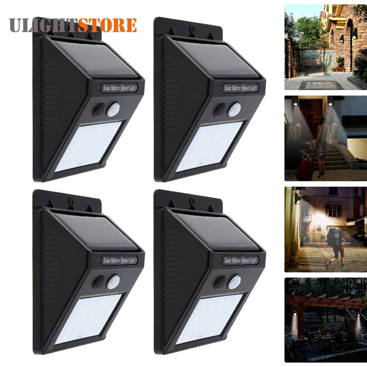 4PCS LED Solar Power Motion Sensor Wall Light Outdoor Garden Lamp Waterproof