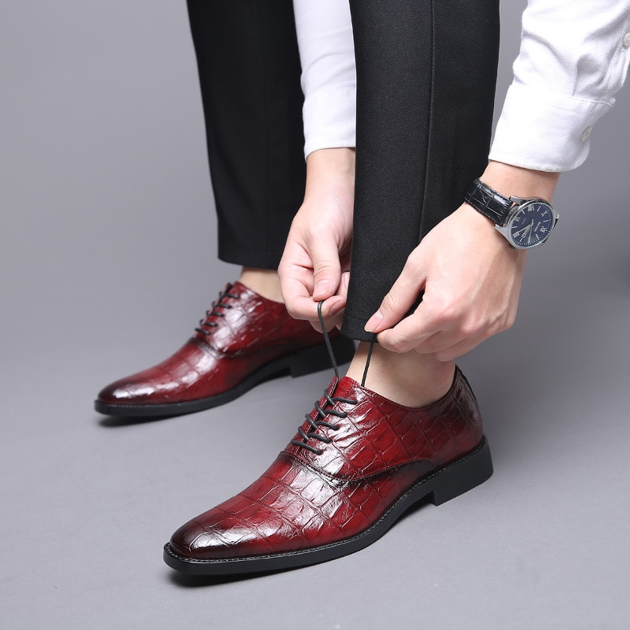 58afb55c1697 Misalwa Classic Men Shoes For Wedding Brand PU Leather Suit Easy wear Men  Pointed Toe Shoes Lace-Up Business Formal Dress Shoes