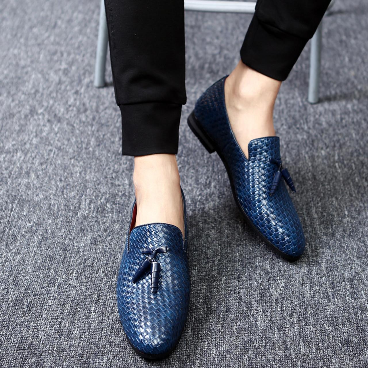 Npezkgc Men Shoes Luxury Brand Classic Fashion Formal Wedding Dress Shoes For Men Oxfords Zapatos Hombre Weaving Leather Shoes Formal Shoes