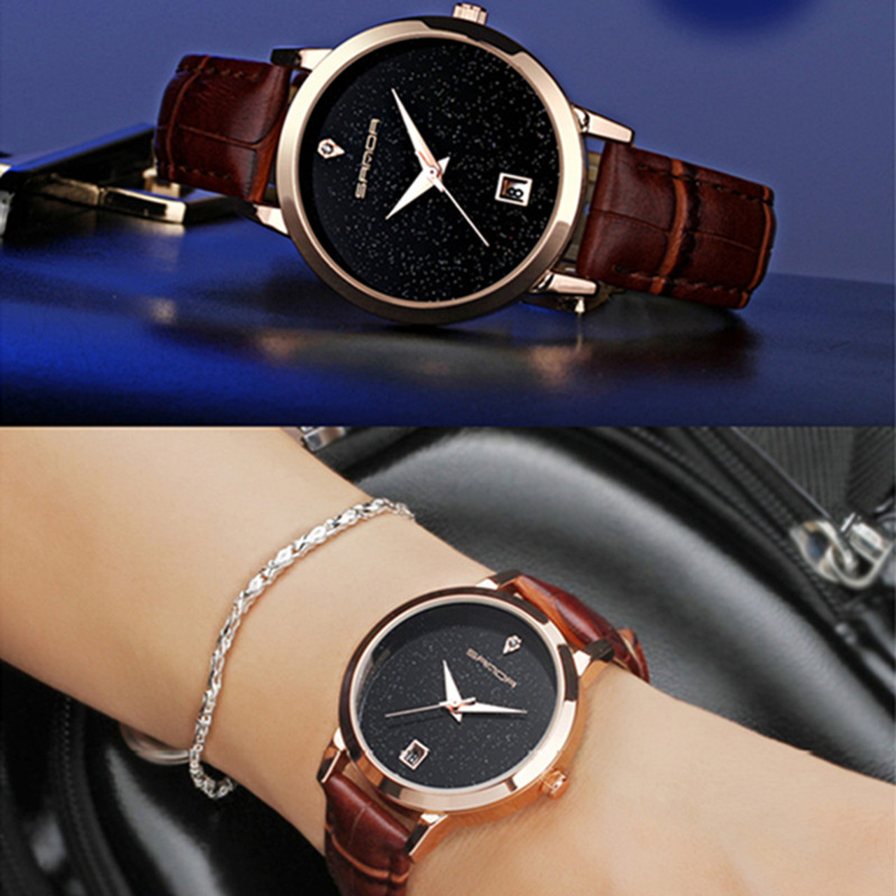 5c709da9fa0 ... SANDA brand quartz watch ladies waterproof leather watch watch fashion  romantic woman watch Relogio Faminino ...