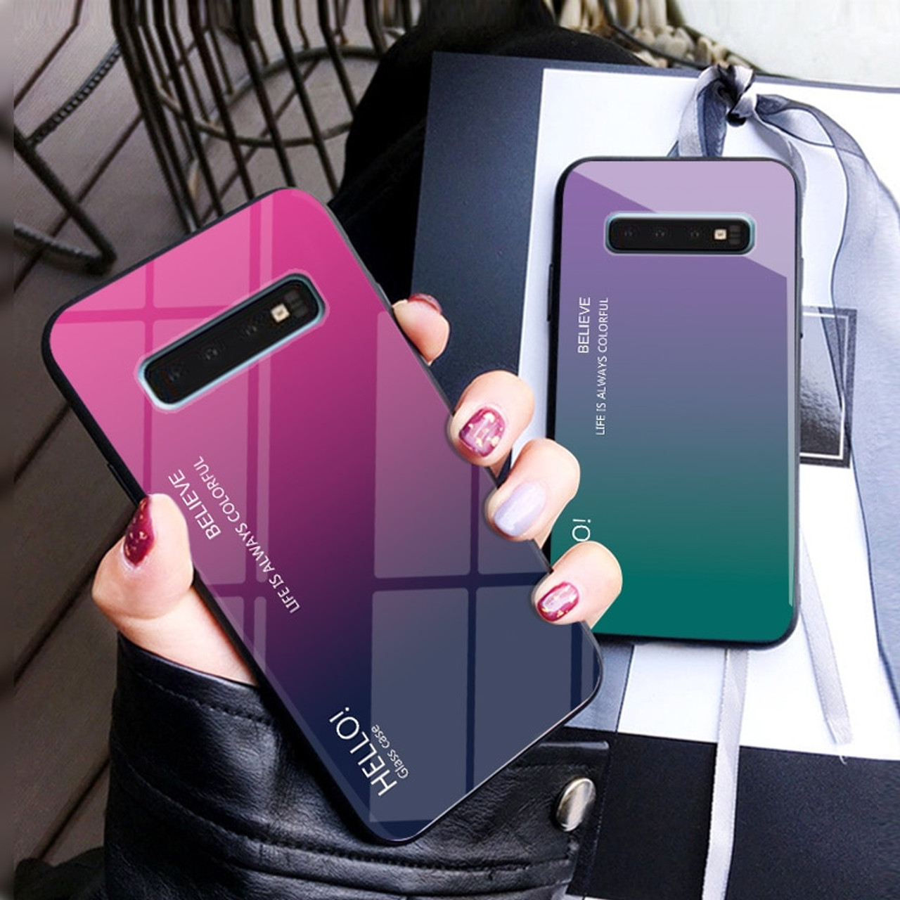 fd1400c190d Gradient Tempered Glass Phone Case For Samsung Galaxy S10e S8 S9 S10 Plus  Note 8 9 ...