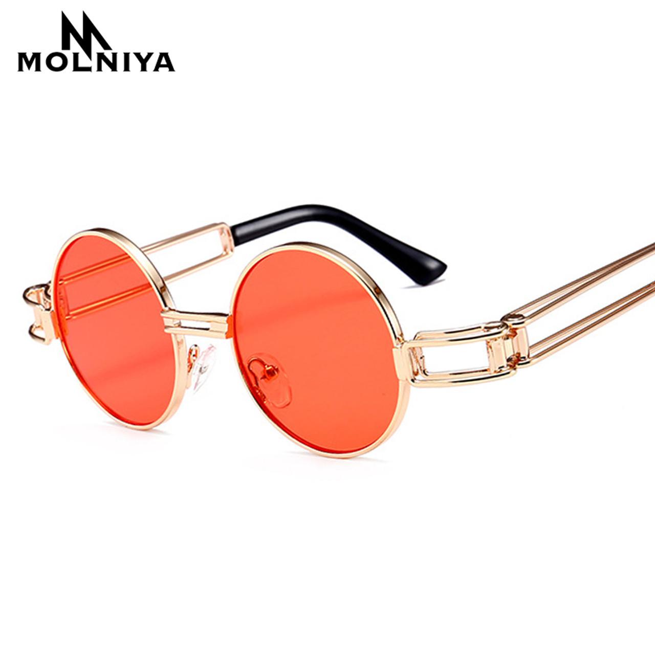 8415e5b921bb ... MOLNIYA New Small Round Sunglasses Men Retro Red Yellow 2019 Gold Frame  Steampunk Round Metal Sun ...