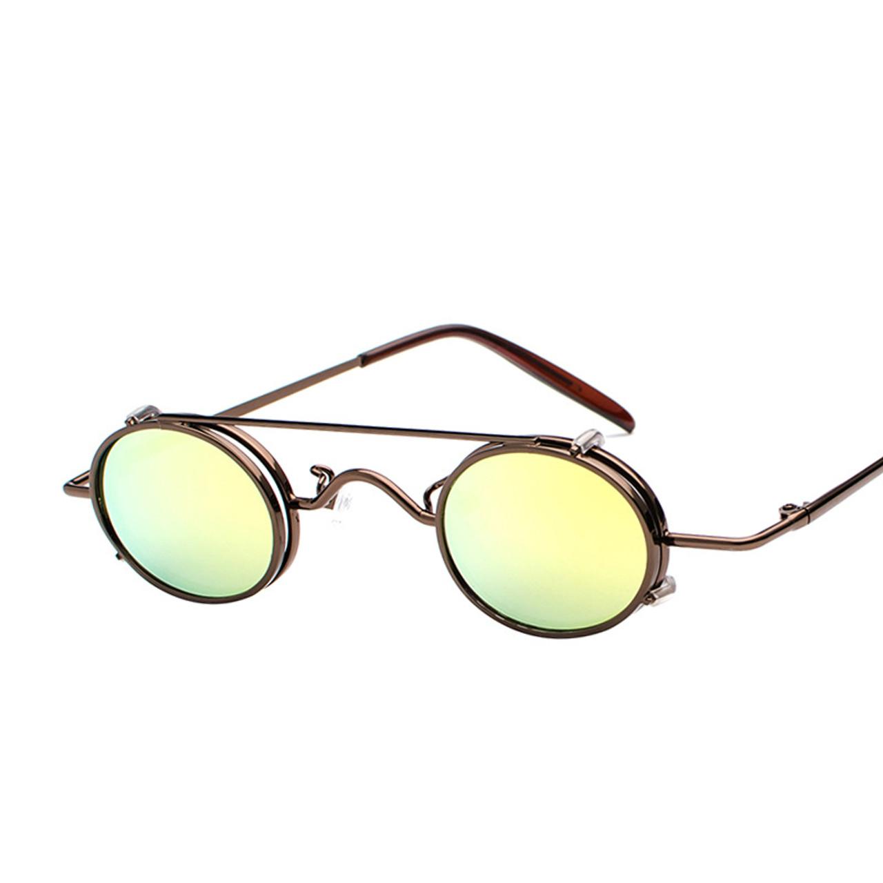 42ab880fb5b6 ... MOLNIYA 2018 Design Small Oval Sunglasses Steampunk Sun Glasses Women  Mirror Luxe 80s Round Sunglasses Mens ...