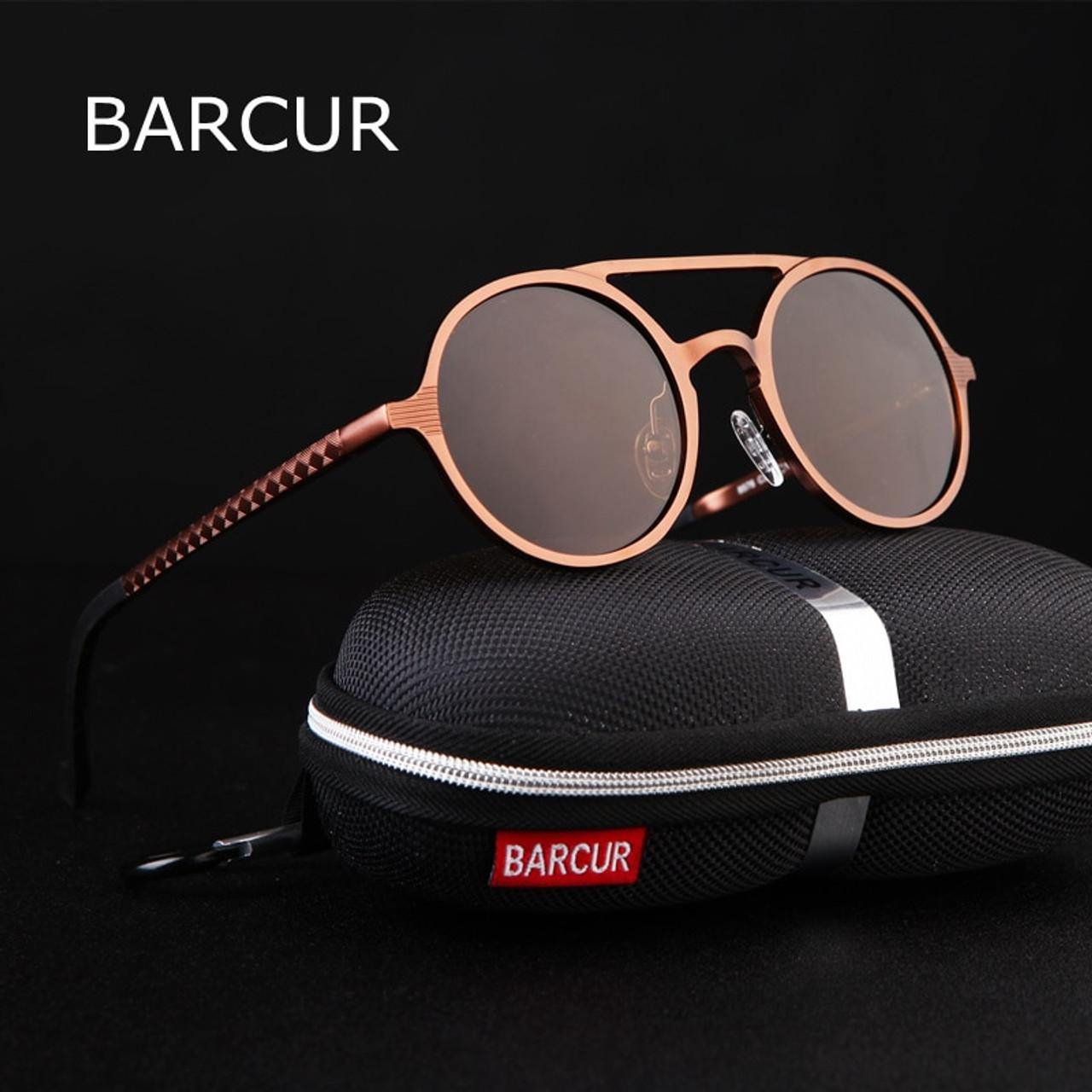 f76d620665 ... BARCUR Vintage Aluminum Magnesium Sun glass Men Polarized Sunglasses  Round Steampunk Shades Brand Designer Eyewear ...
