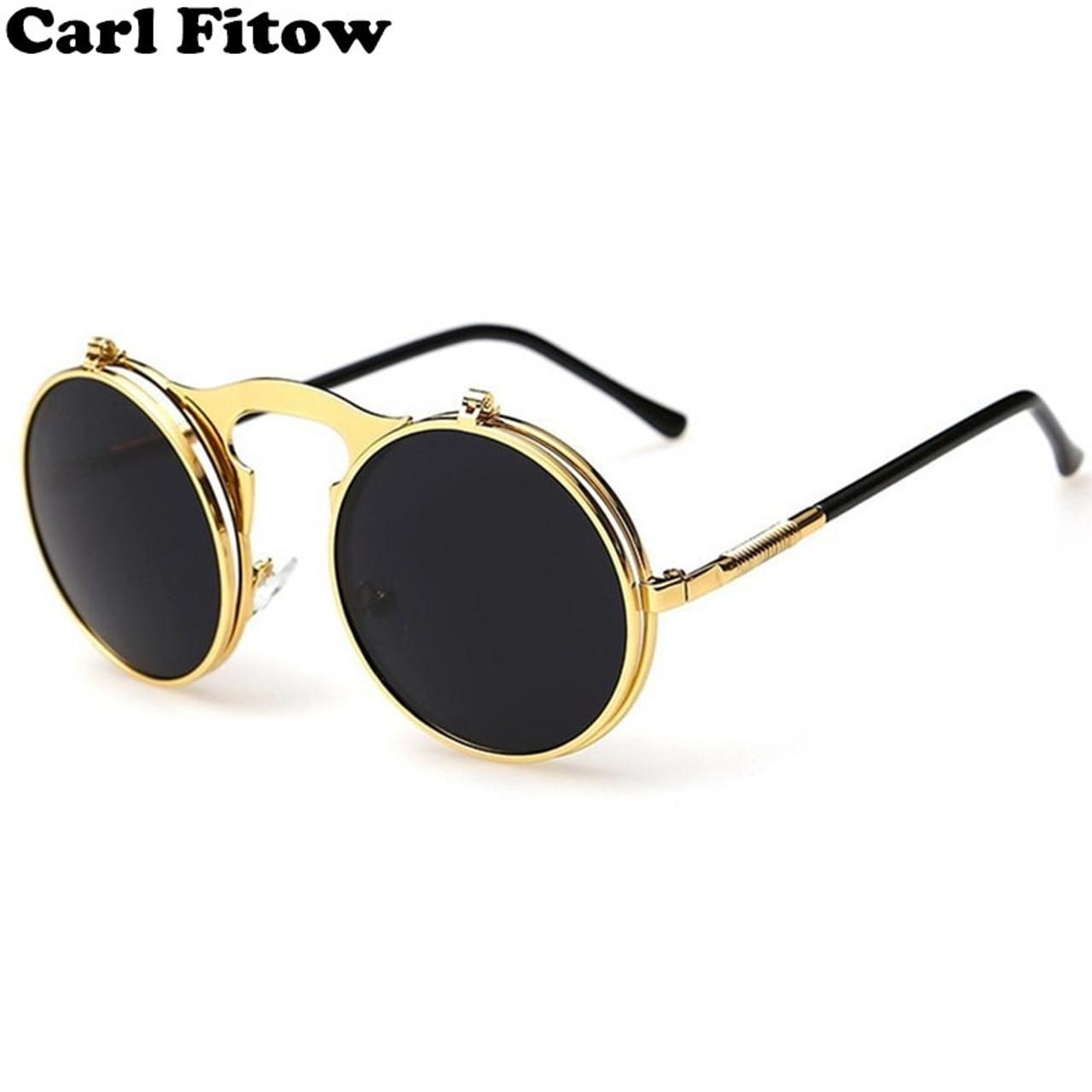 aa85719461 men vintage round steampunk sunglasses men small round flip up sunglasses  women retro metal silver cheap ...