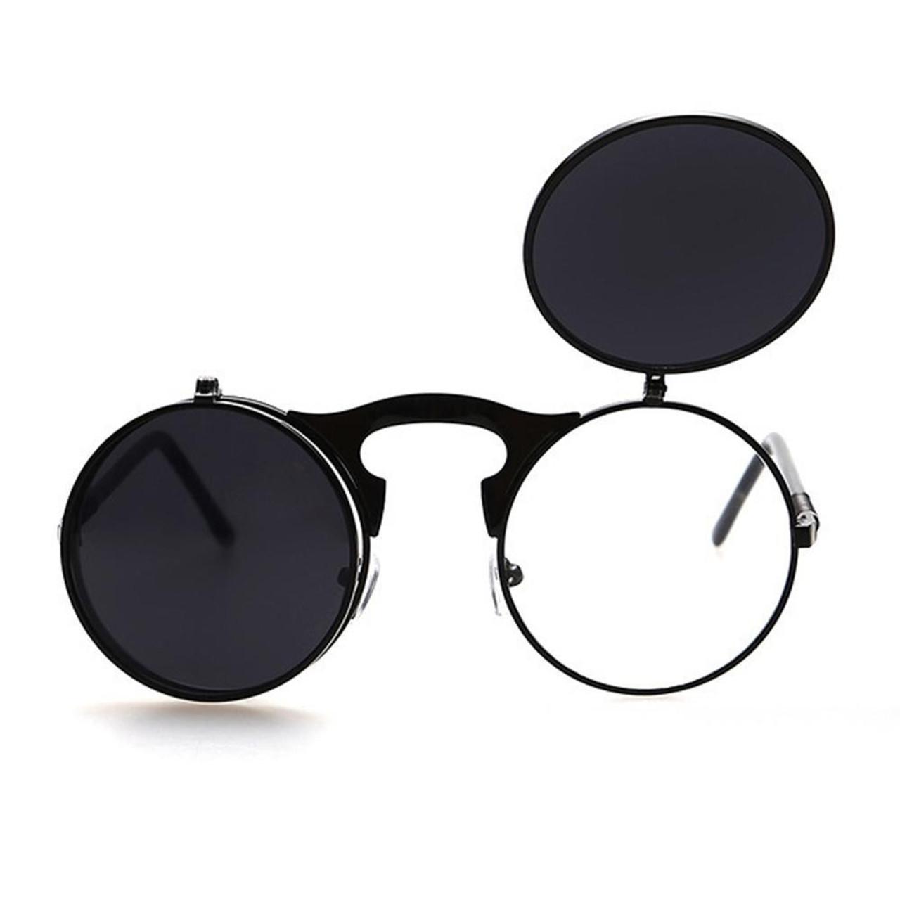 adbe06dac9 ... men vintage round steampunk sunglasses men small round flip up sunglasses  women retro metal silver cheap ...