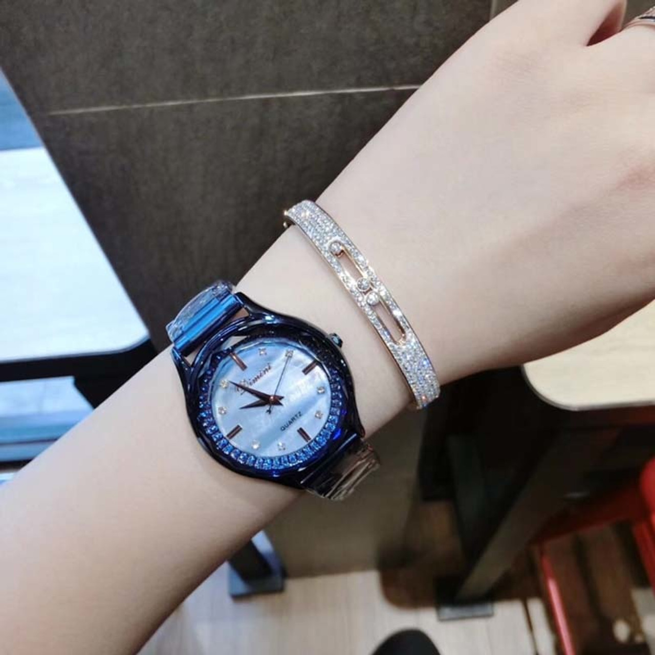 Shiny Crystal DIMINI Lady Women's Watch Japan Quartz Hours Fine Fashion  Jewelry Clock Bracelet Luxury Girl's Gift Diamond watch
