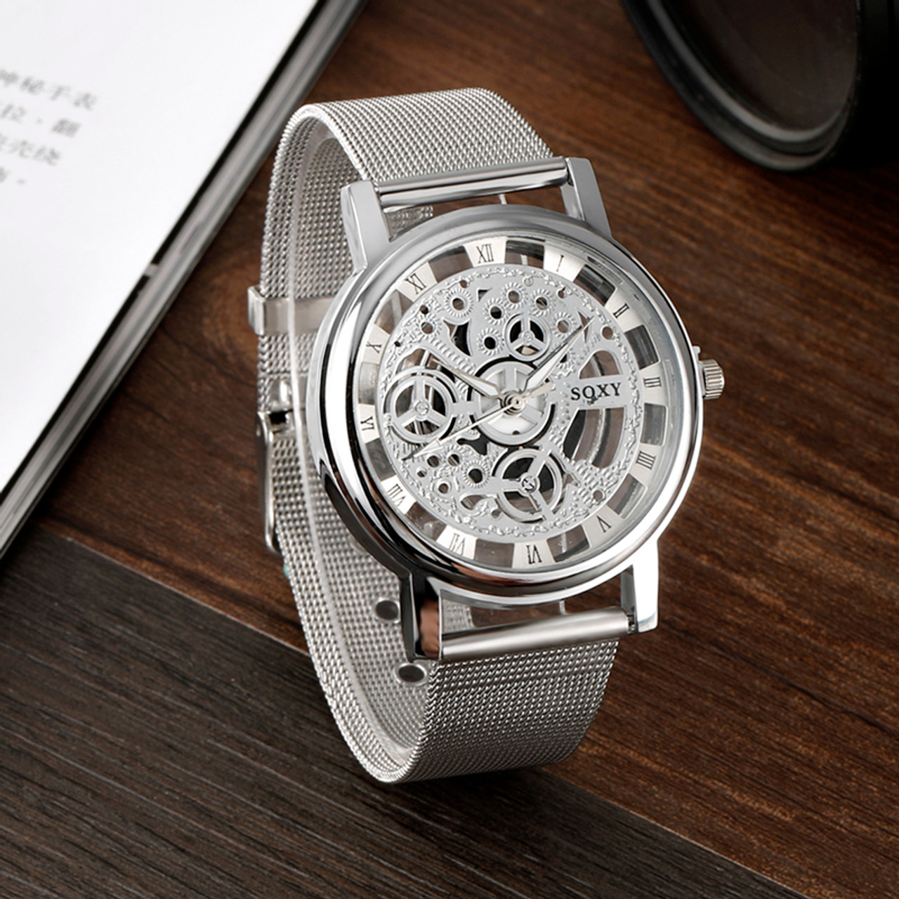 ... 2017 New Hot Sell Brand SOXY Silver Wrist Watch Simple Style Mesh Belt  Women Quartz Watches ... b8ed6192977