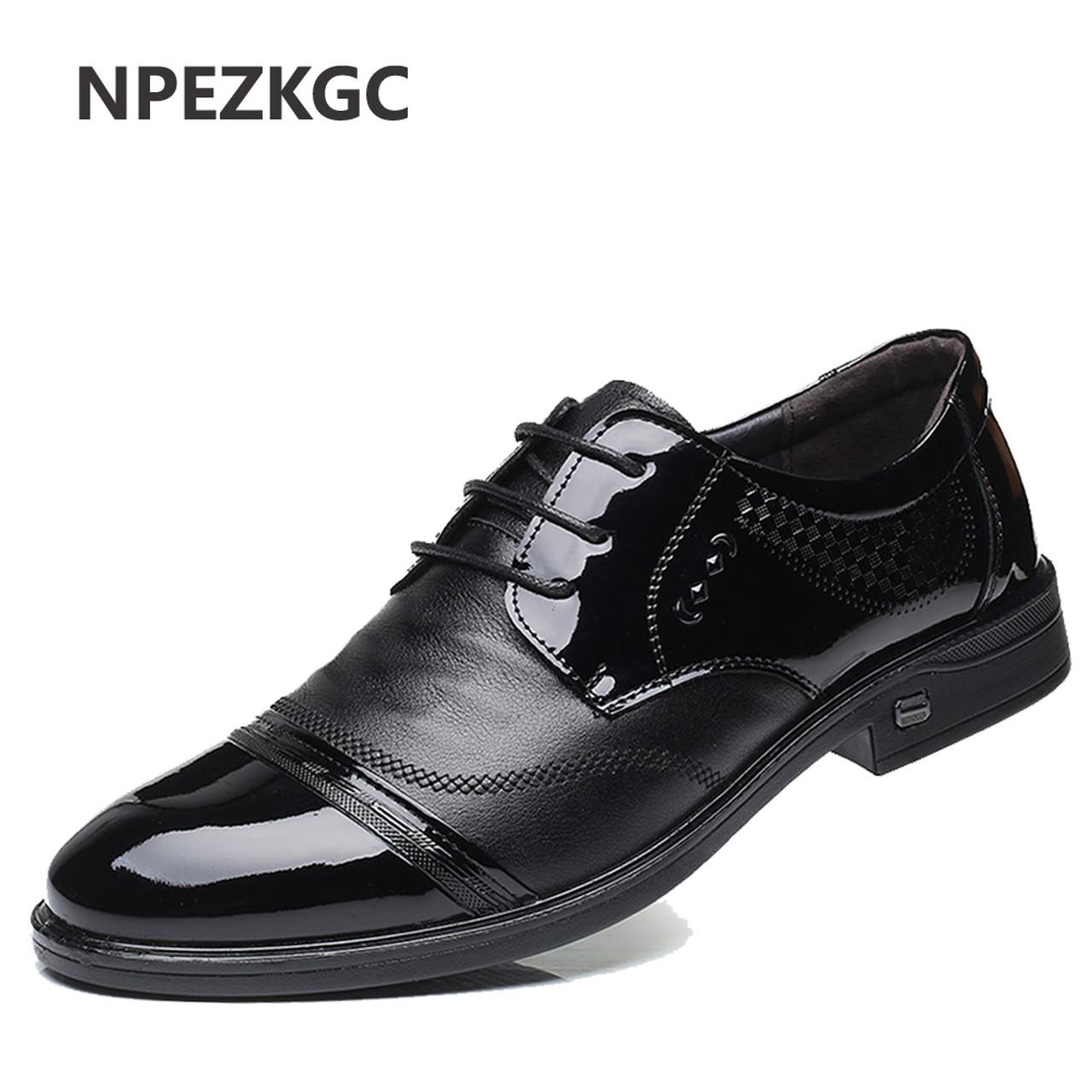 f4002ff1 NPEZKGC Fashion Men Shoes Genuine Leather Men Dress Shoes Brand Luxury Men's  Business Casual Classic Gentleman ...