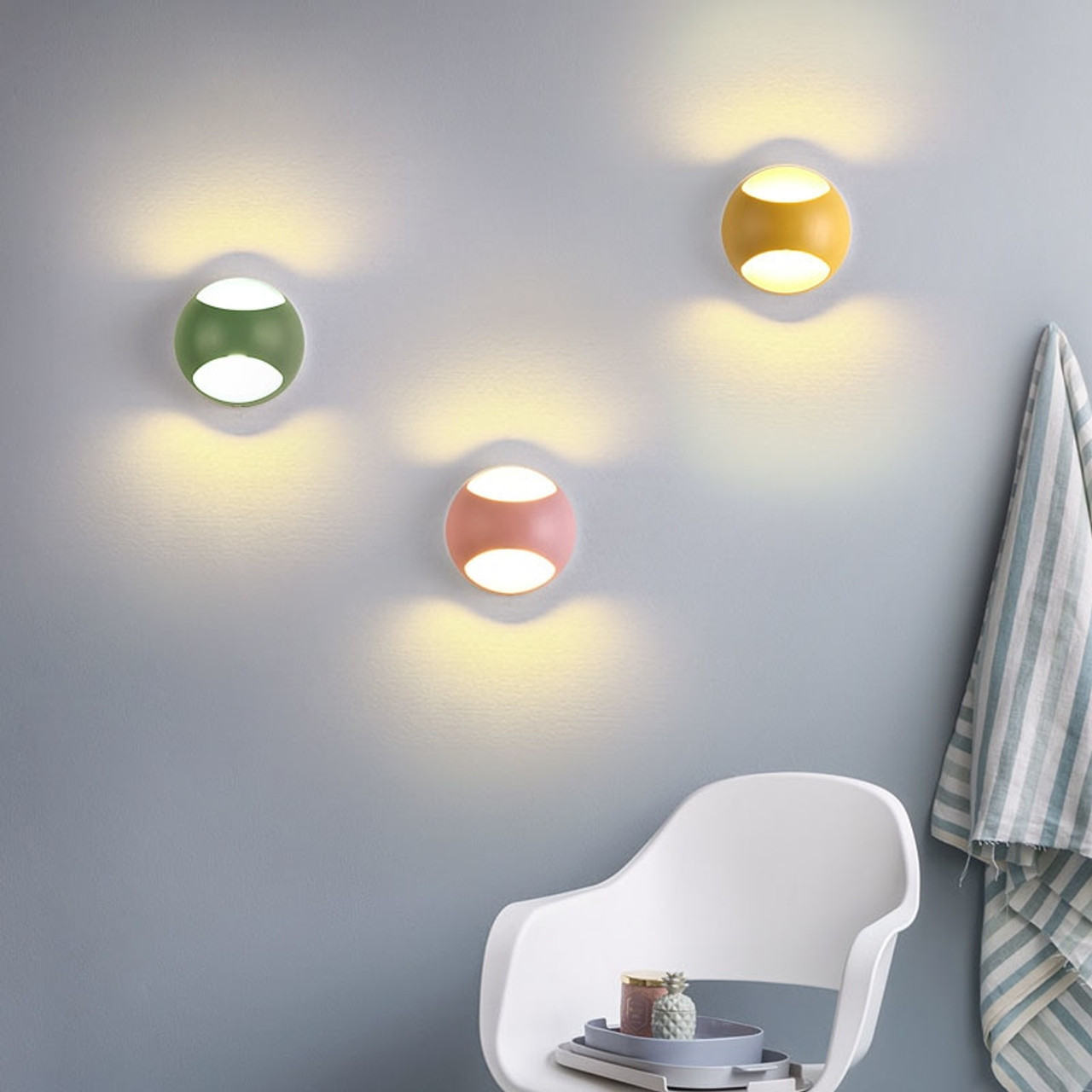 Led wall lamps 5w 100v 220v living room light fixtures indoor wall lights chromatic background kids room stair mirror lighting