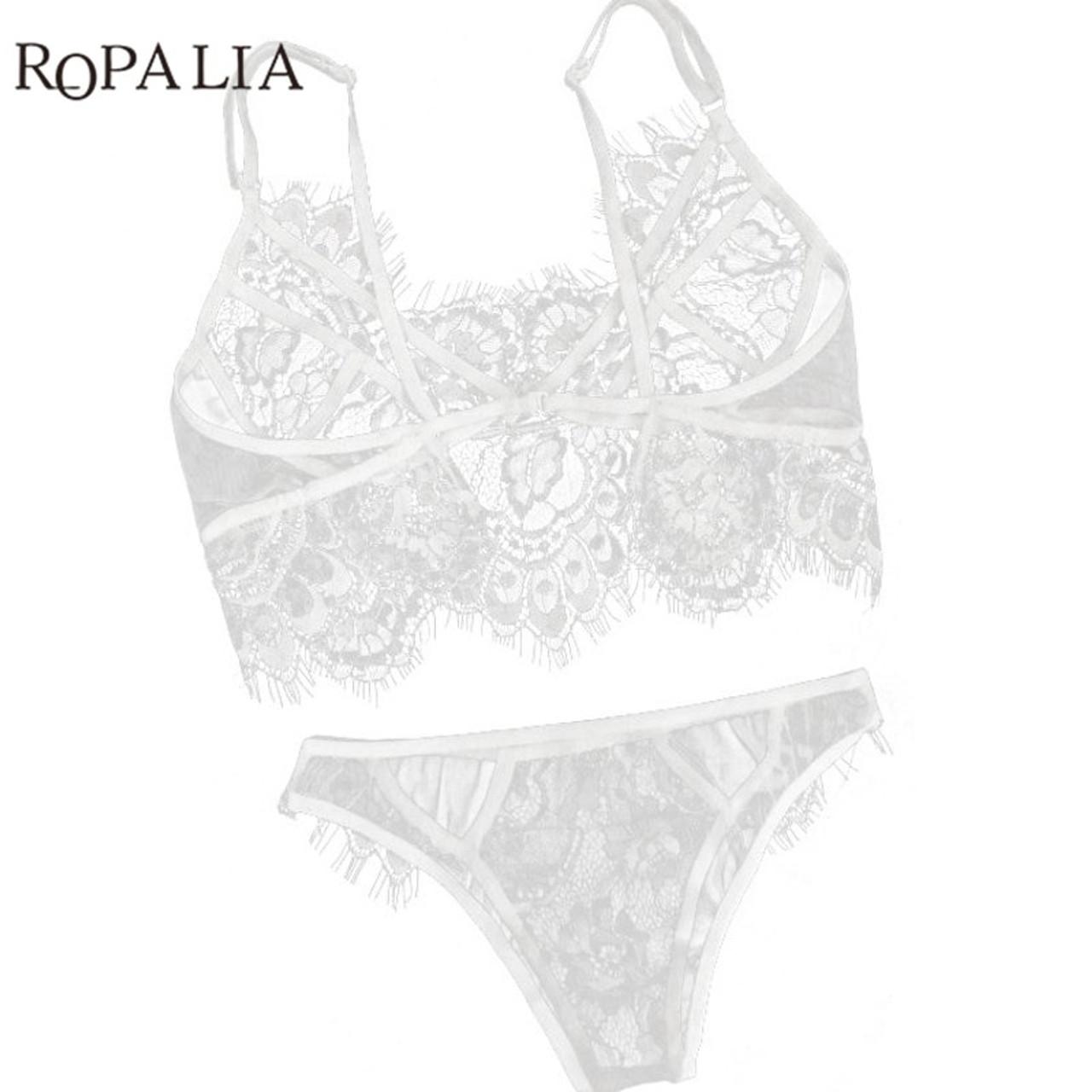a457ac5717f8 ... Sexy Lace Bra Sets Bralette Soft Lingerie Push Up Bra Brief For Women  Deep V Cross