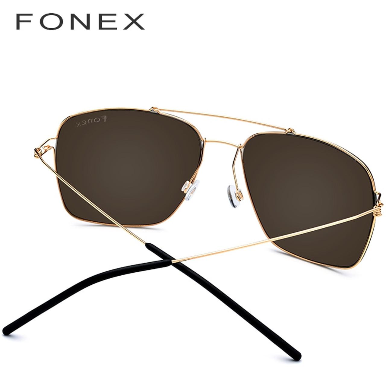 dee600e4cfc ... FONEX Polarized Sunglasses Men Ultralight 2019 Brand Design Mirror  Alloy Oversize Square Sun Glasses for Men ...