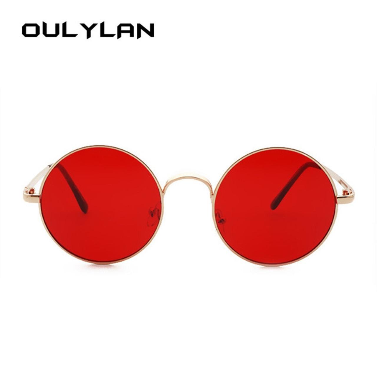 a71a97cb586f4 ... Oulylan Retro Round Sunglasses Men Women Brand Designer Red Sun glasses  Female Vintage Metal Big Sunglasses ...