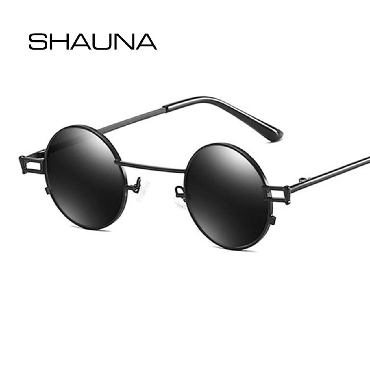 7512908cb1482 ... SHAUNA Retro Small Round Punk Sunglasses Men Vintage Clear Red Tinted  Sun Glasses Women ...