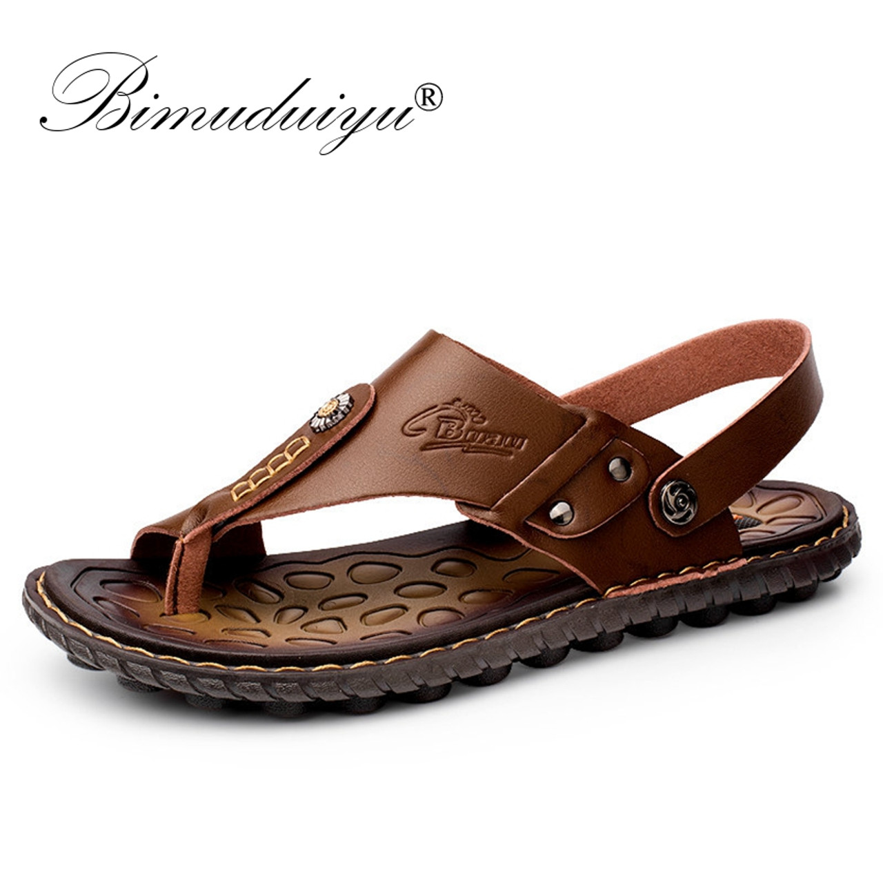a7b1aed195fbd BIMUDUIYU Brand 2018 Beach Shoes Fashion Men Sandals And Slippers Two In  One Casual Shoes Leather ...