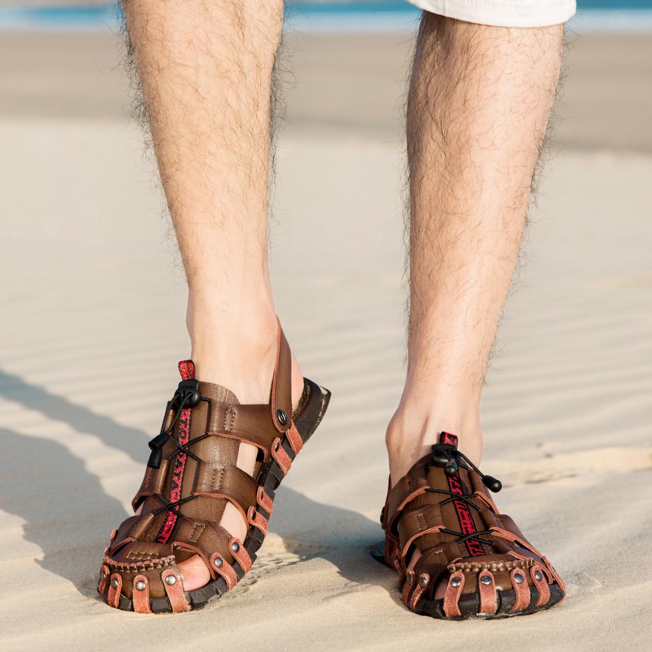 820767025 ... BIMUDUIYU 2019 New Sandals Men Shoes Closed Toe Beach Lightweight  Slippers Sandals Classic Roman Sandals Outdoor ...