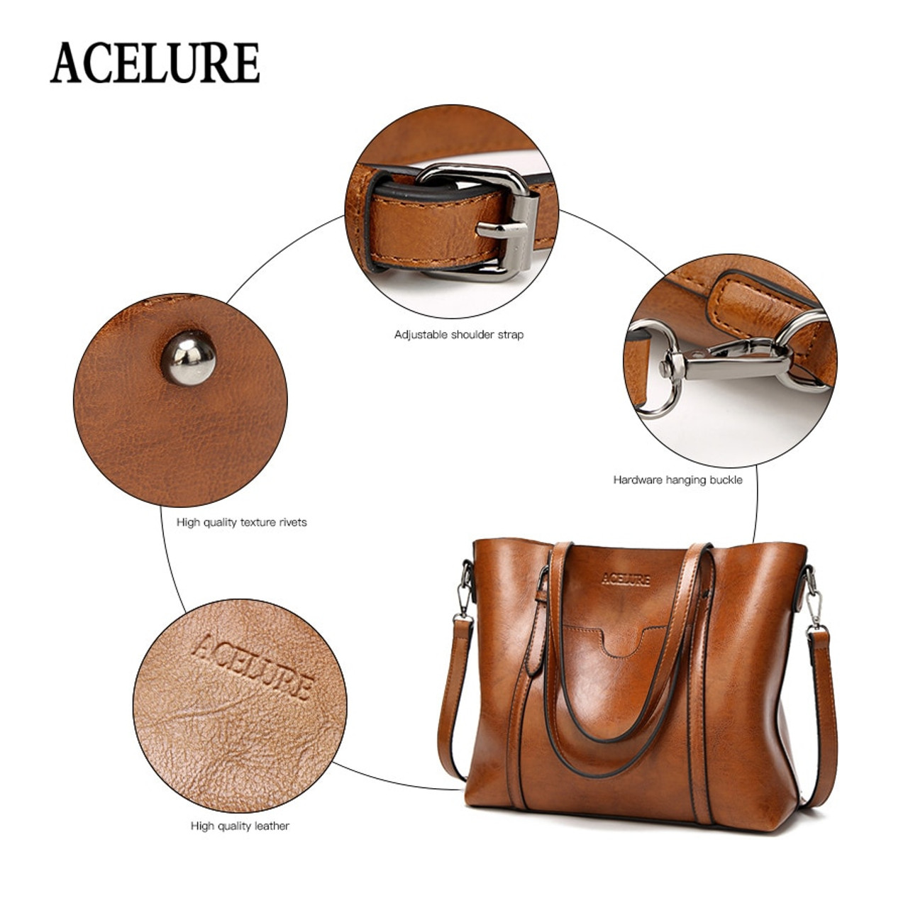 43dcba0e1 ... ACELURE Women bag Oil wax Women's Leather Handbags Luxury Lady Hand Bags  With Purse Pocket Women ...