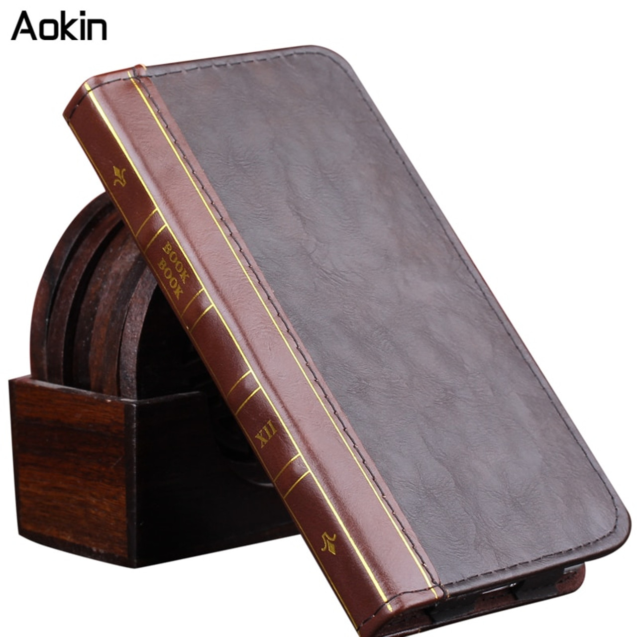 the latest 3bfc7 7c51c Aokin Case Book Pouch Wallet PU Leather For iPhone 7 7 Plus Cover Card  Luxury Flip Case Shockproof Phone Cases for iphone 6 6s