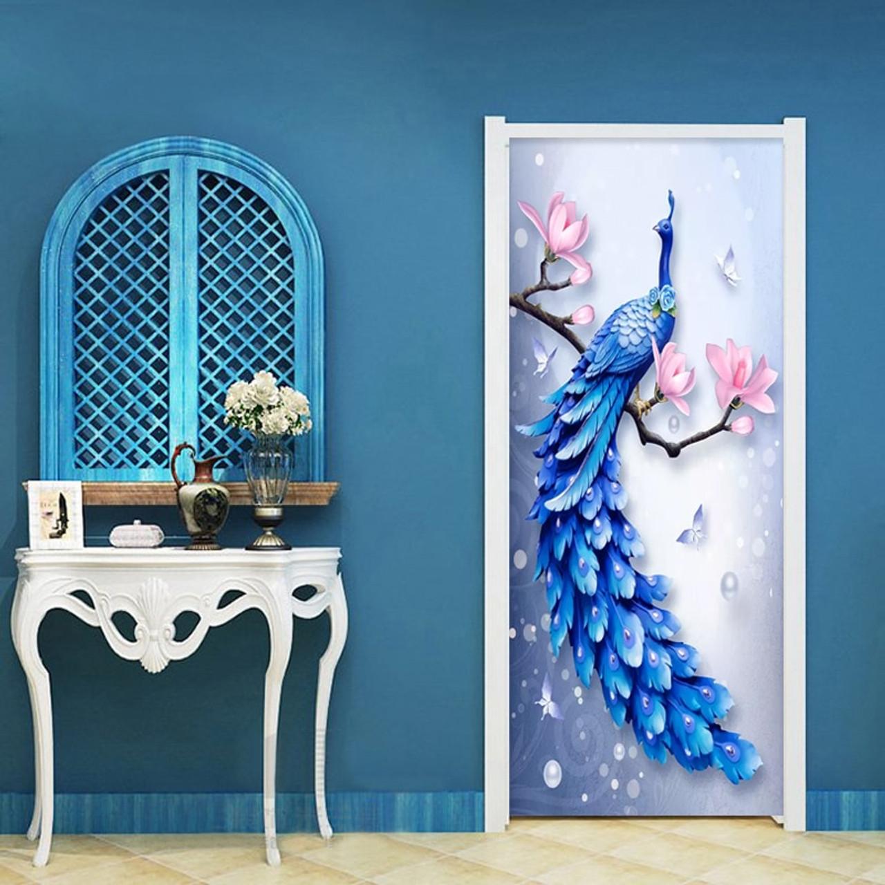 3d Stereo Relief Blue Peacock Photo Murals Wallpaper Living Room Bedroom Study Door Sticker Pvc Waterproof Wall Paper Home Decor Onshopdeals Com
