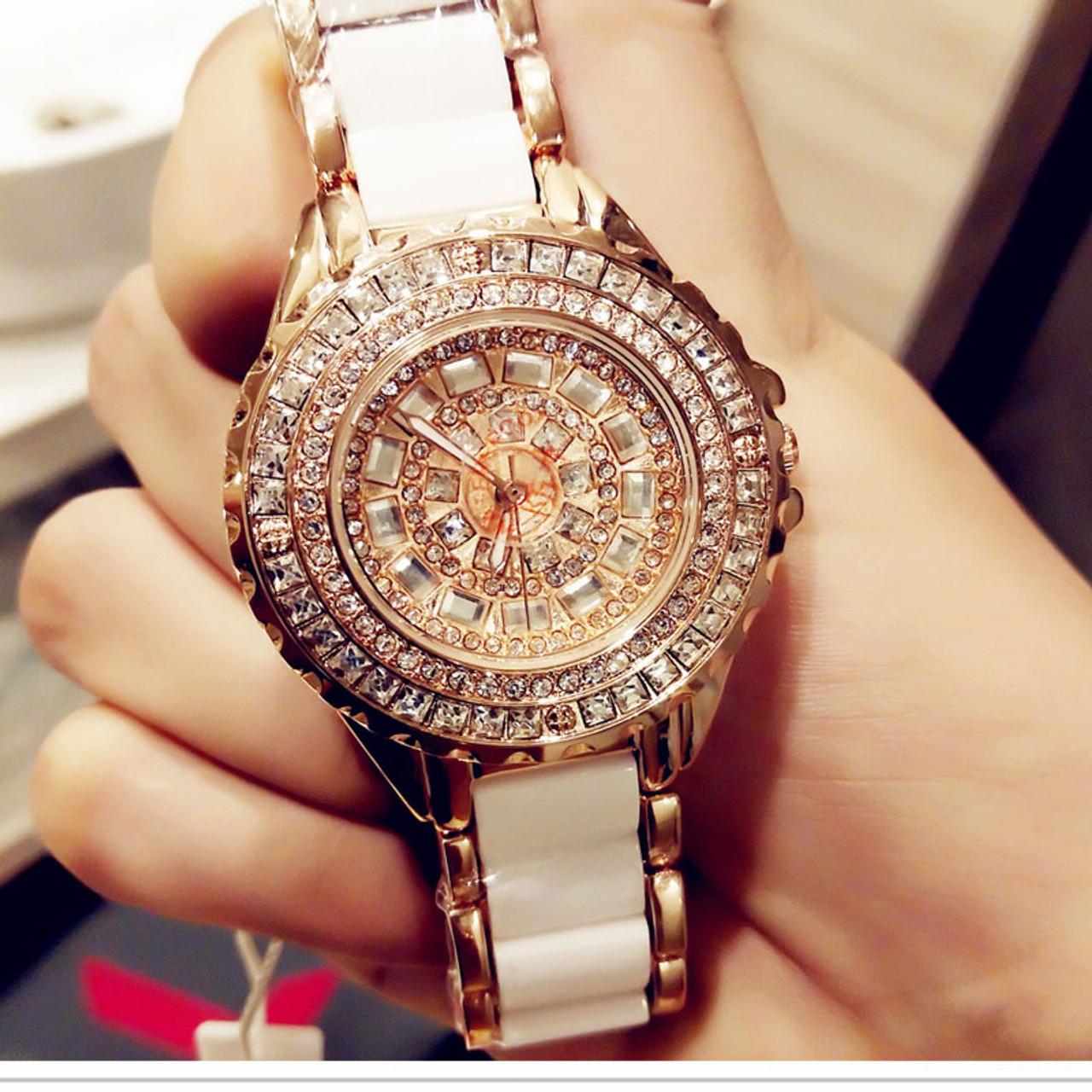 0a85d00ec24 Luxury Brand Fashion Jewelry Bracelet Stainless Steel Ceramic Rhinestone  Watches Women Ladies Watch Quartz Wristwatch For ...