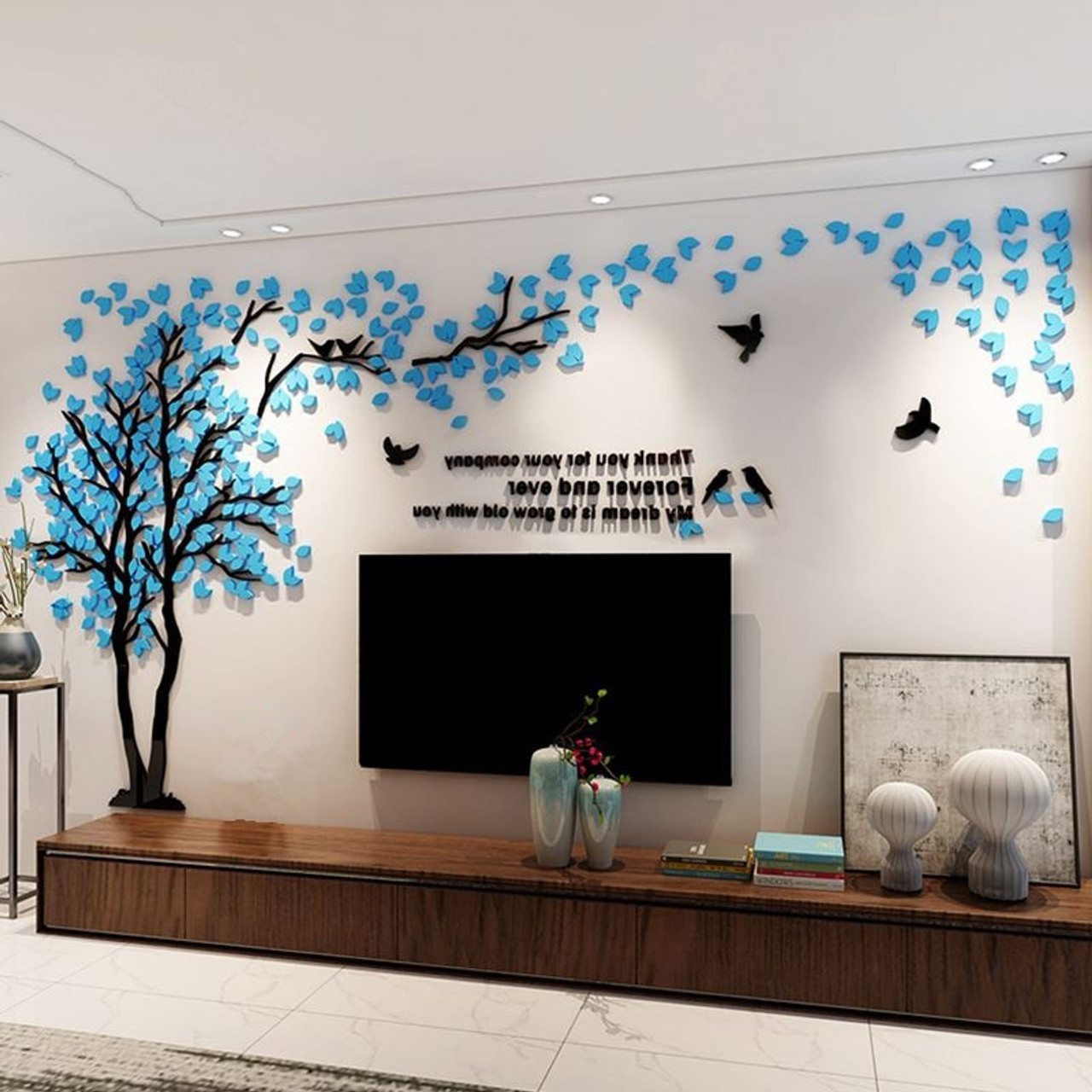 11D Tree Wall Stickers Acrylic Wall Sticker Home Decor DIY Decoration Maison  Large Wall Decorations Living Room Mural Wallpapers