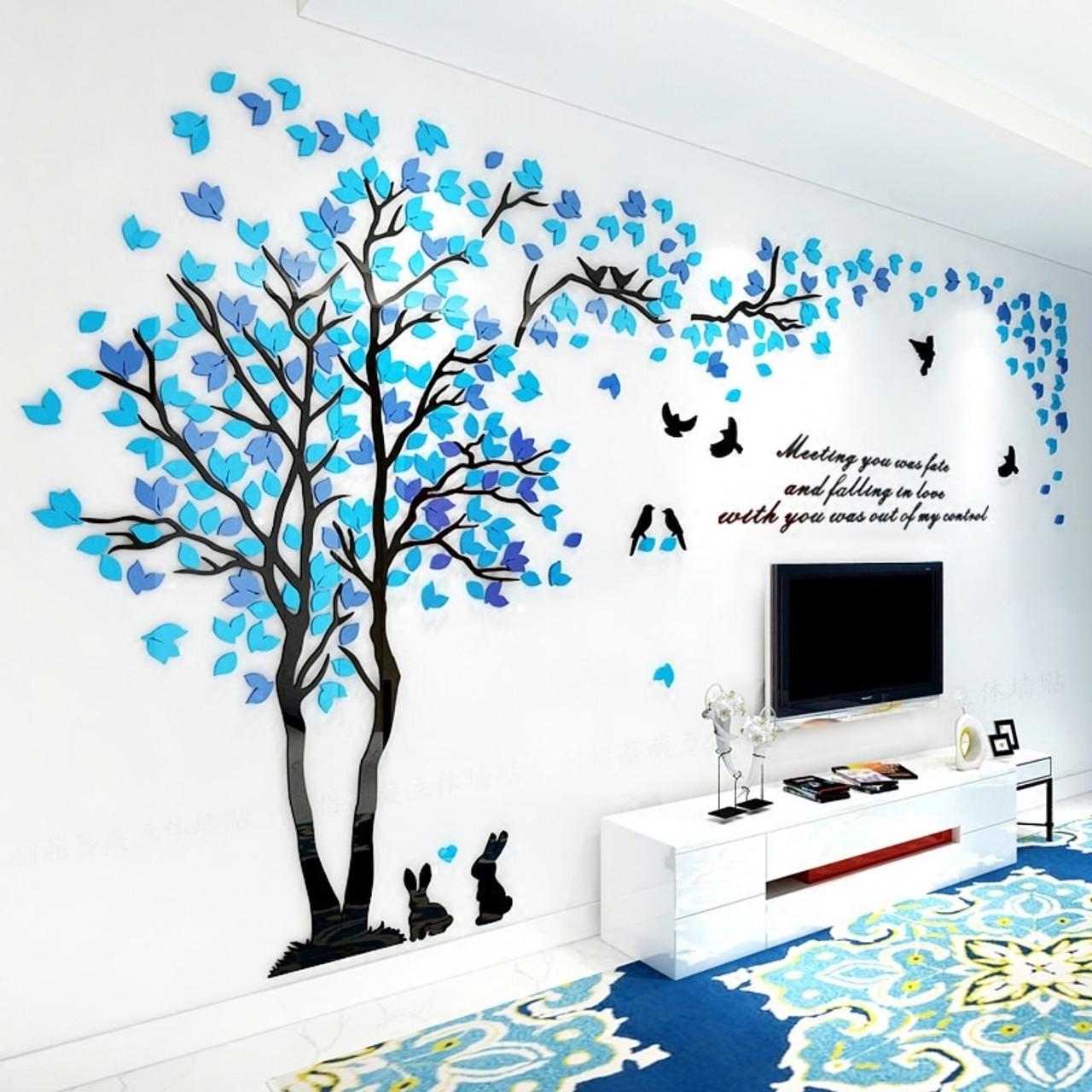 Creative Couple Tree 3d Wall Stickers Living Room Bedroom Home Wall Art Decor Diy Acrylic Wall Sticker Decal Cartoon Big Tree Onshopdeals Com