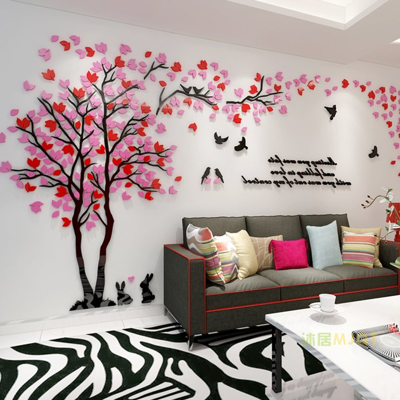 Image of: Creative Couple Tree 3d Wall Stickers Living Room Bedroom Home Wall Art Decor Diy Acrylic Wall Sticker Decal Cartoon Big Tree Onshopdeals Com