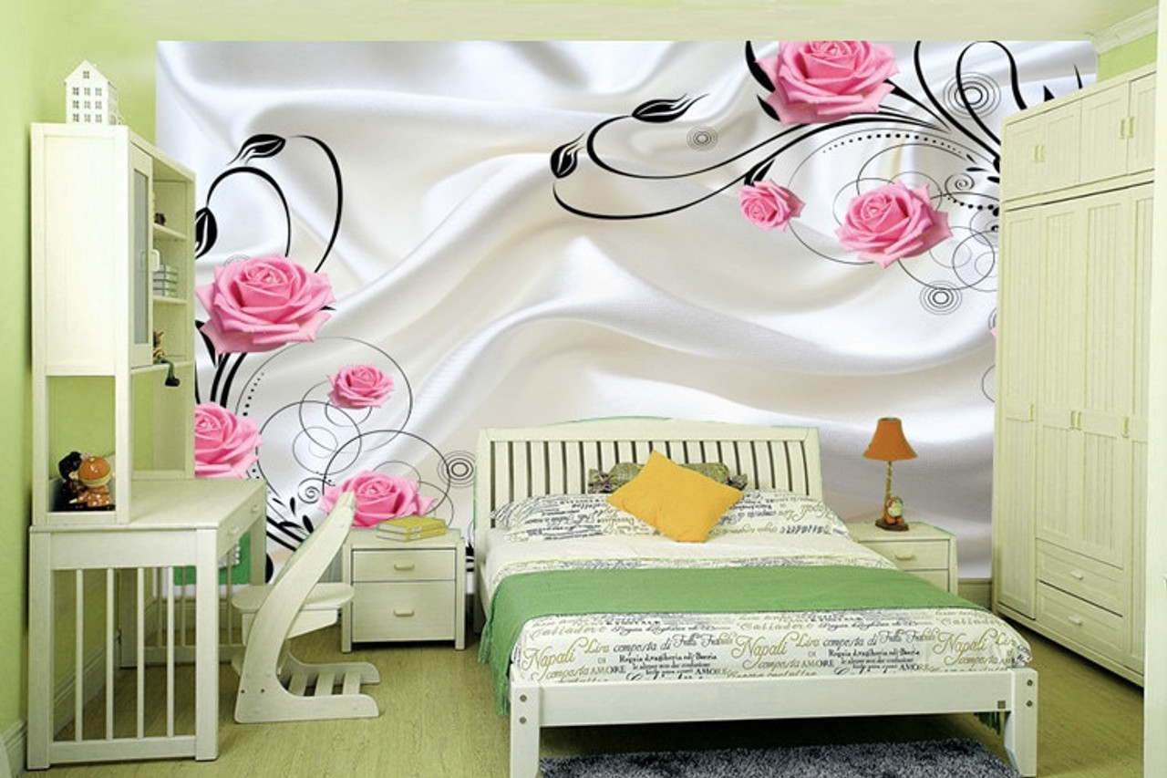 5d Wallpaper Wallpaper Tv Background Wall Painting Silk Pink Rose Beautiful Marriage Room Simple Flower Vine Living Room Onshopdeals Com