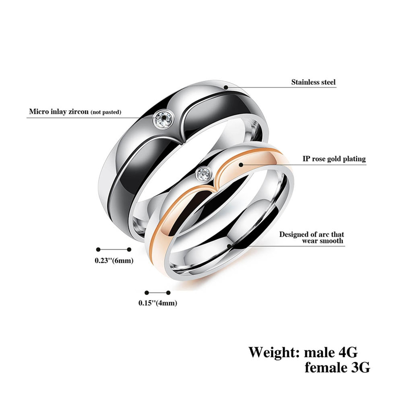 22922706d6 ... JeeMango Black & Rose Gold Color Stainless Steel Classic Lovers  Wedding Rings For Women Jewelry ...