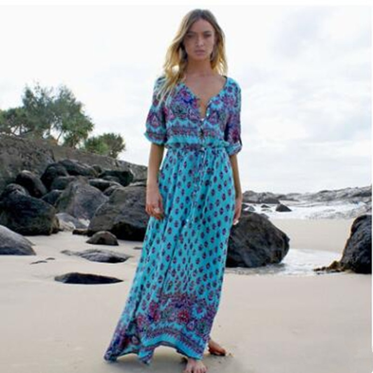 Plus Size 7 Summer Long Maxi Dress Women Sexy V Neck Sundress Boho  Floral Print Half Sleeve Loose Beach Dresses Vestidos