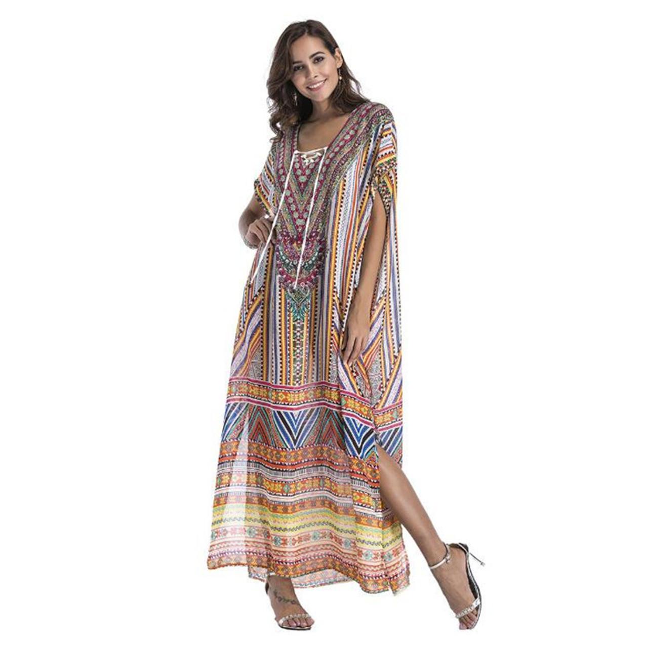1db076eafadd8 Chiffon fashion print Bohemian long maxi dress boho clothing 2019 summer  sundress Beach Sarongs large size robes women