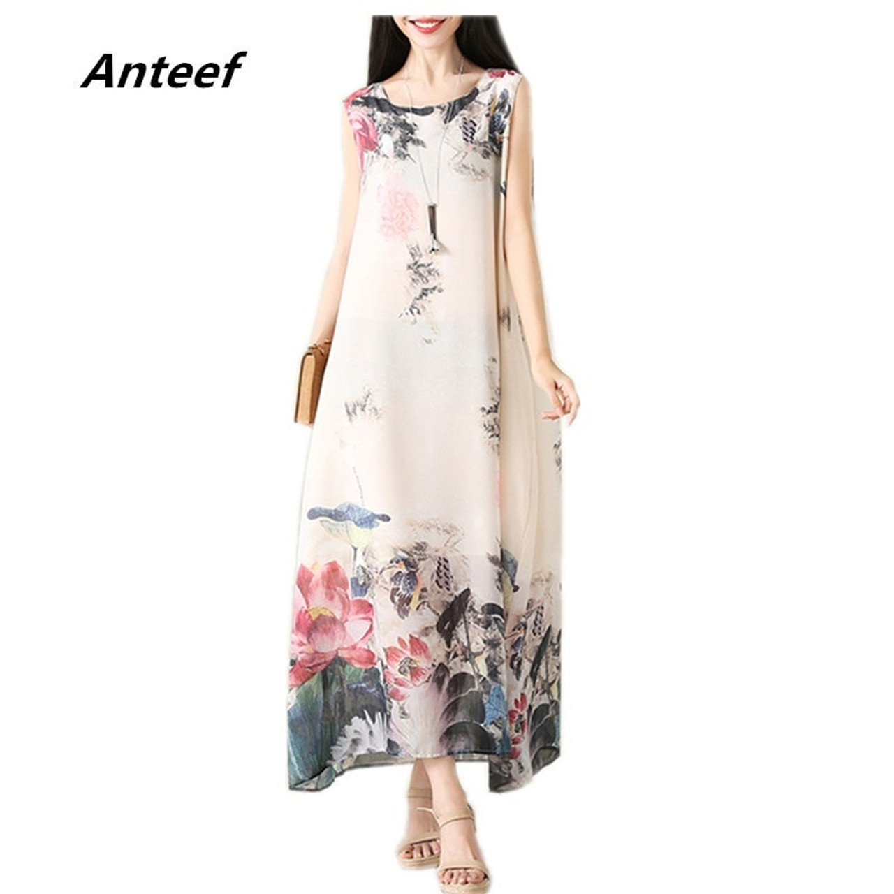 64c67c99e4 chiffon plus size vintage floral women casual long loose summer beach party  dress elegant vestidos clothes 2019 ladies dresses