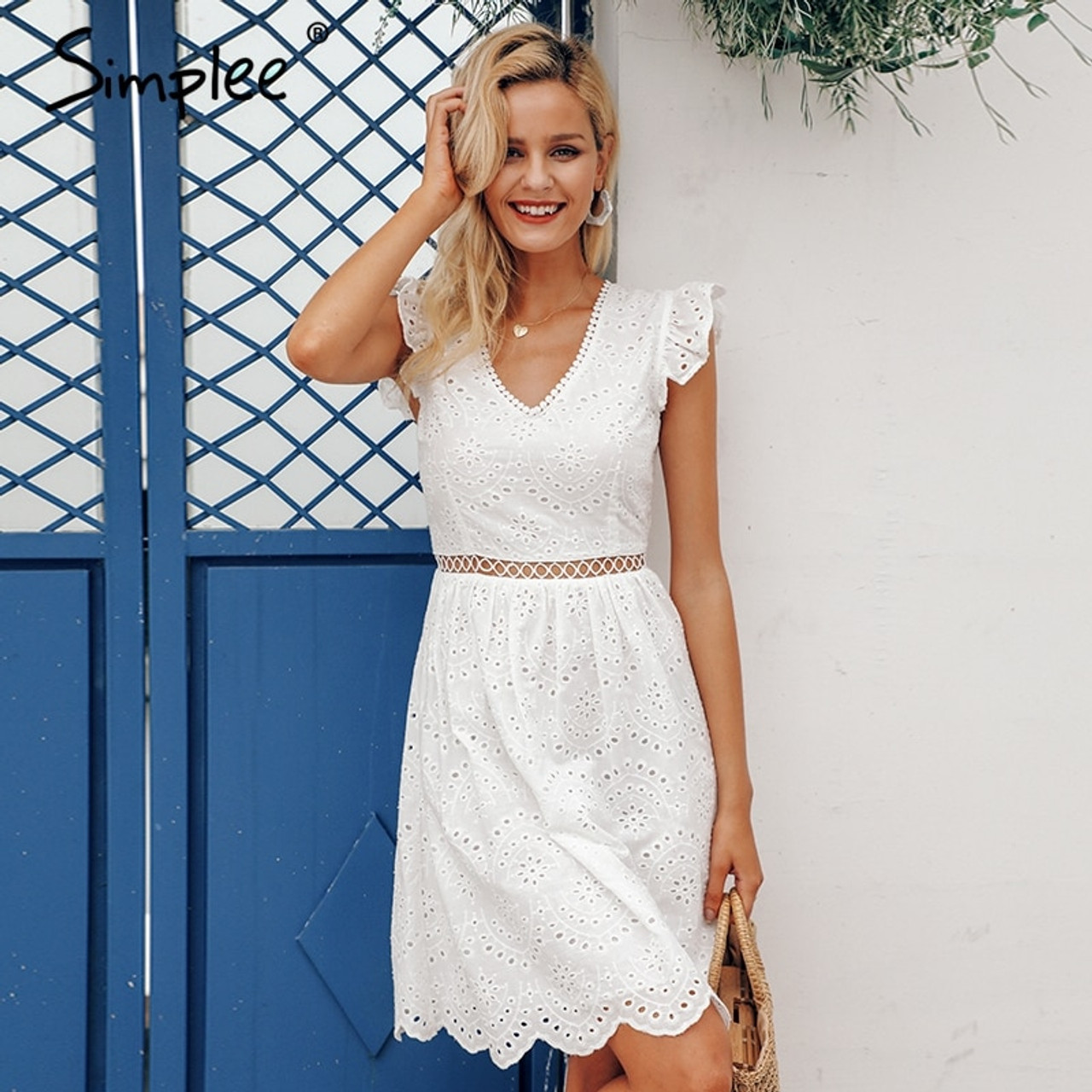 f023e8248252 ... Simplee Sexy white women summer dress 2019 Backless v neck ruffle  cotton lace dress Vintage holiday ...