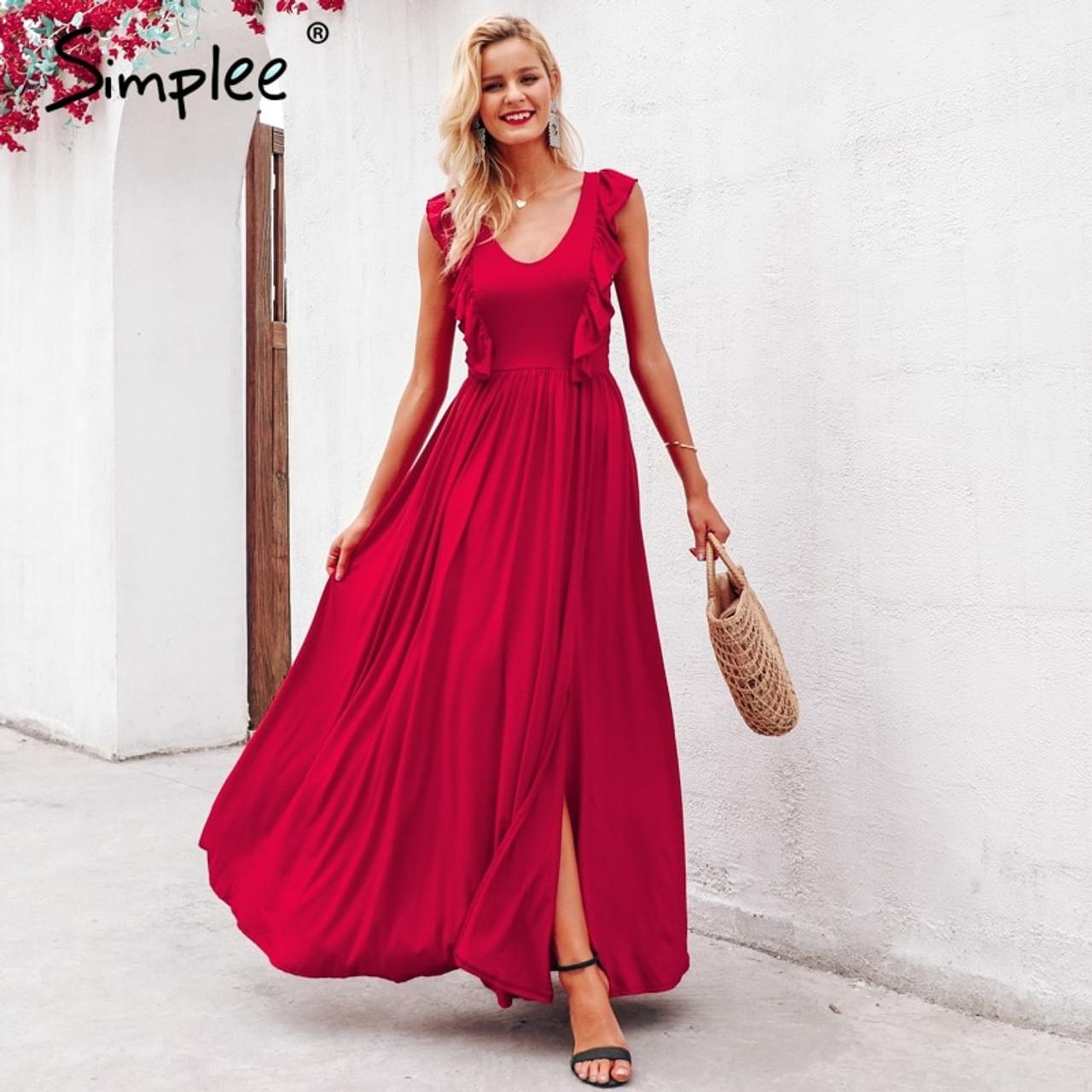 bdcae225b2 ... Simplee Sexy pleated red long women dress Ruffles O neck split maxi  summer dress 2019 Elegant ...