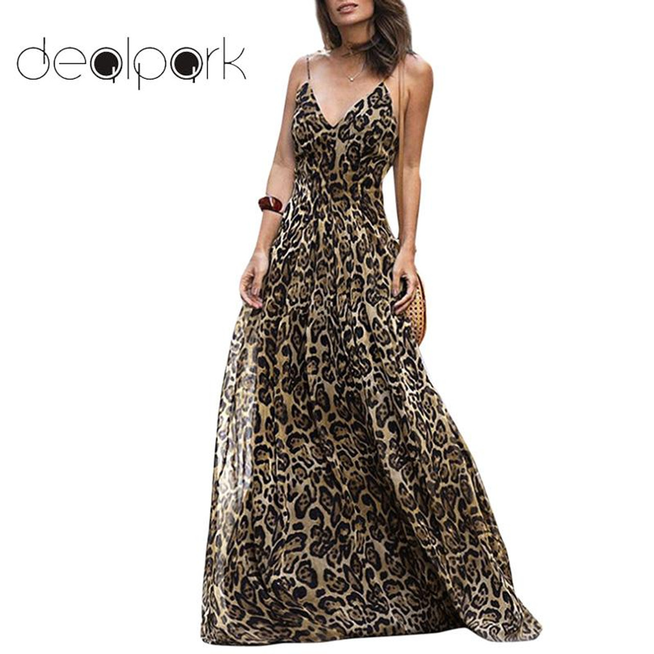 reliable quality shop for luxury good service HOT Beach Summer Dress 2019 Leopard V Neck Strap Maxi Dress Women Elegant  Sleeveless Clothing Floor-Length Ladies Dresses female