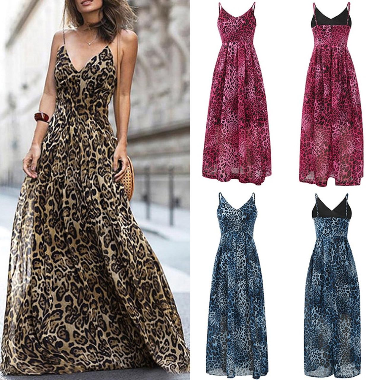 67fb95c357f ... HOT Beach Summer Dress 2019 Leopard V Neck Strap Maxi Dress Women  Elegant Sleeveless Clothing Floor ...