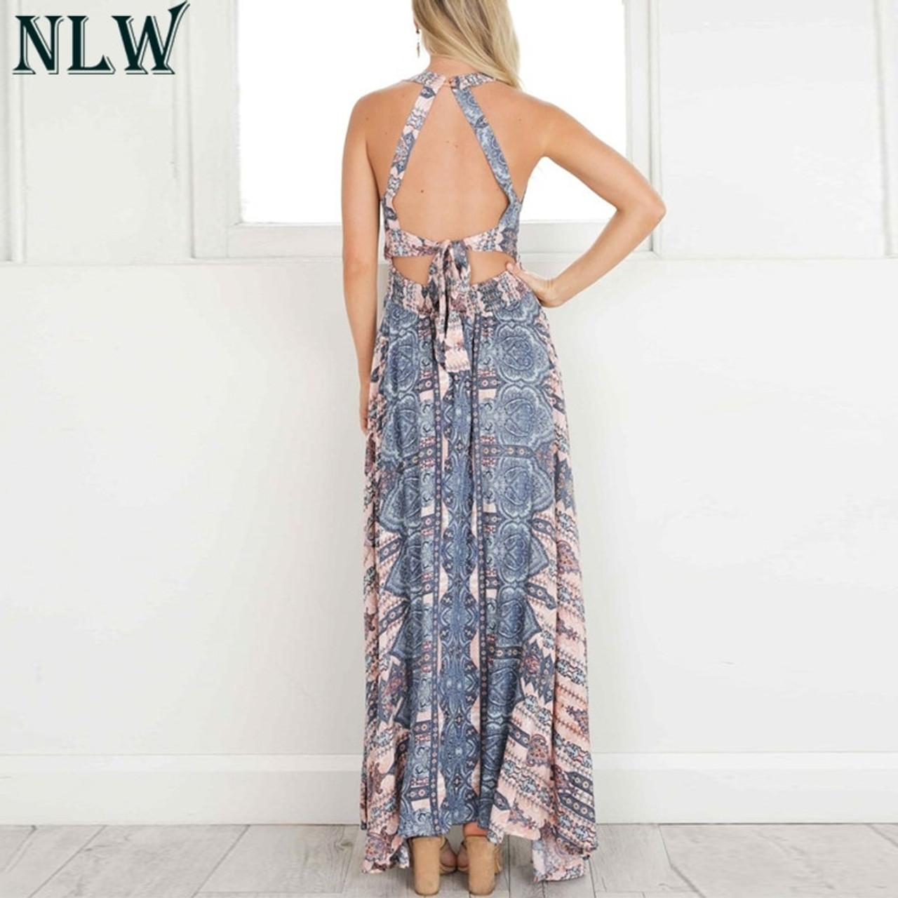 c74ddff1f72bb NLW Boho Blue Flower Maxi Dress Halter Summer Dress 2019 Women High Split  Backless Sexy Long Dress Beach Party Chic Girl Vestido